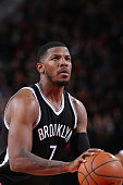 Joe Johnson of the Brooklyn Nets shoots a free throw during the game against the Portland Trail Blazers on February 23 2016 at the Moda Center Arena...