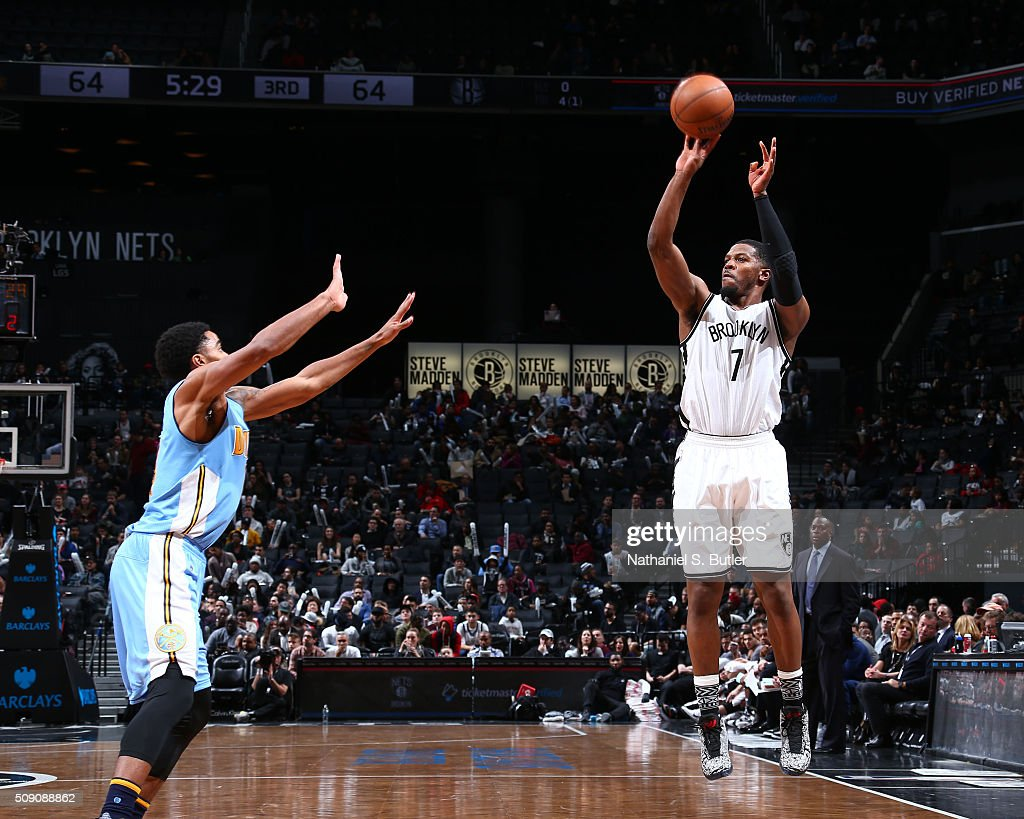 <a gi-track='captionPersonalityLinkClicked' href=/galleries/search?phrase=Joe+Johnson+-+Basketball+Player&family=editorial&specificpeople=201652 ng-click='$event.stopPropagation()'>Joe Johnson</a> #7 of the Brooklyn Nets shoots against hte Denver Nuggets during the game on February 8, 2016 at Barclays Center in Brooklyn, New York.