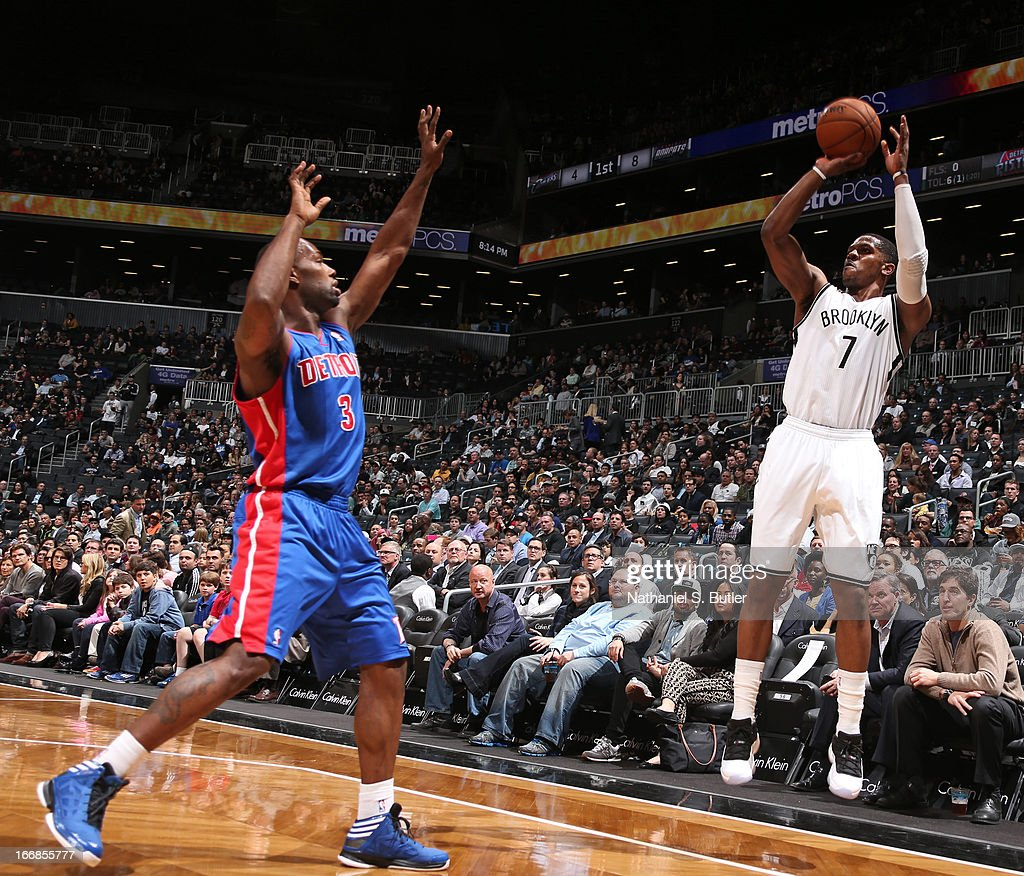 Joe Johnson #7 of the Brooklyn Nets shoots against Rodney Stuckey #3 of the Detroit Pistons on April 17, 2013 at the Barclays Center in the Brooklyn borough of New York City.