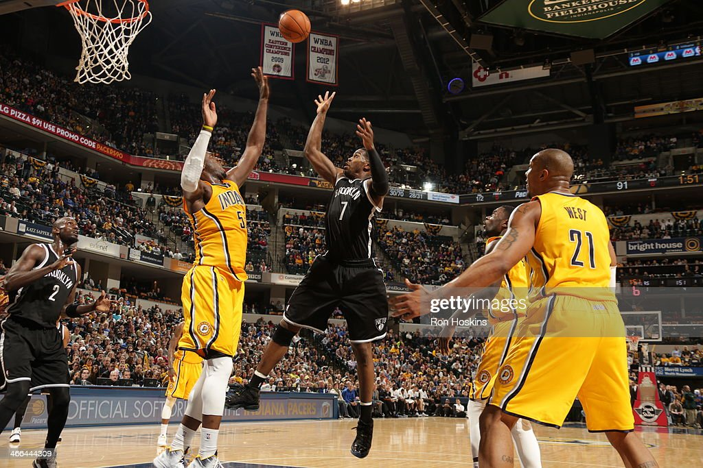 Joe Johnson #7 of the Brooklyn Nets shoots against the Indiana Pacers at Bankers Life Fieldhouse on February 1, 2014 in Indianapolis, Indiana.