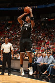 Joe Johnson of the Brooklyn Nets shoots against the Miami Heat during the game on December 28 2015 at American Airlines Arena in Miami Florida NOTE...