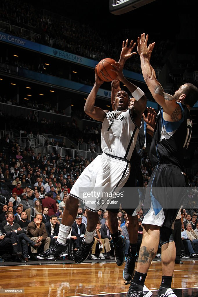 Joe Johnson #7 of the Brooklyn Nets shoots against the Minnesota Timberwolves on November 5, 2012 at the Barclays Center in Brooklyn, New York.
