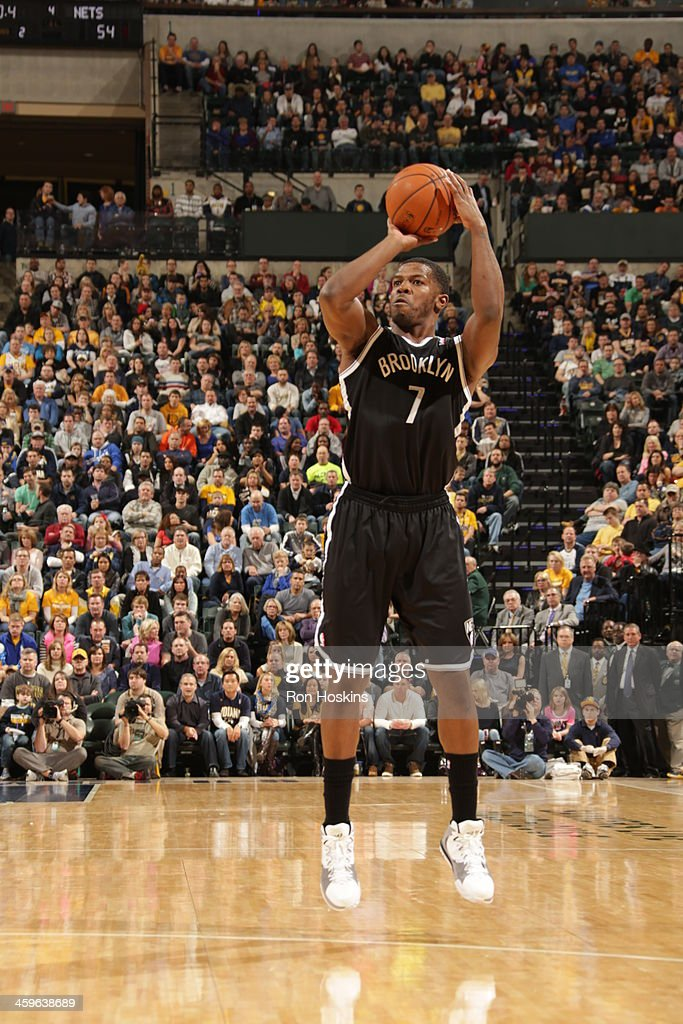 Joe Johnson #7 of the Brooklyn Nets shoots the ball against the Indiana Pacers at Bankers Life Fieldhouse on December 28, 2013 in Indianapolis, Indiana.