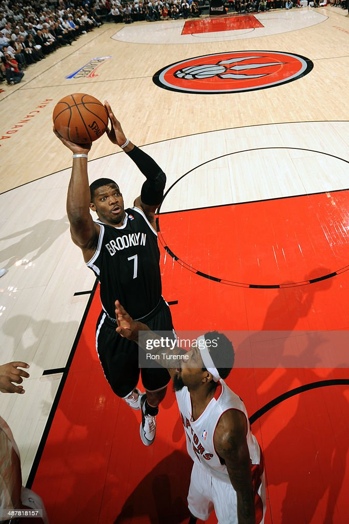 Joe Johnson #7 of the Brooklyn Nets shoots the ball during Game Five of the Eastern Conference Quarterfinals Toronto Raptors during the 2014 NBA Playoffs on April 30, 2014 at the Air Canada Centre in Toronto, Ontario, Canada.