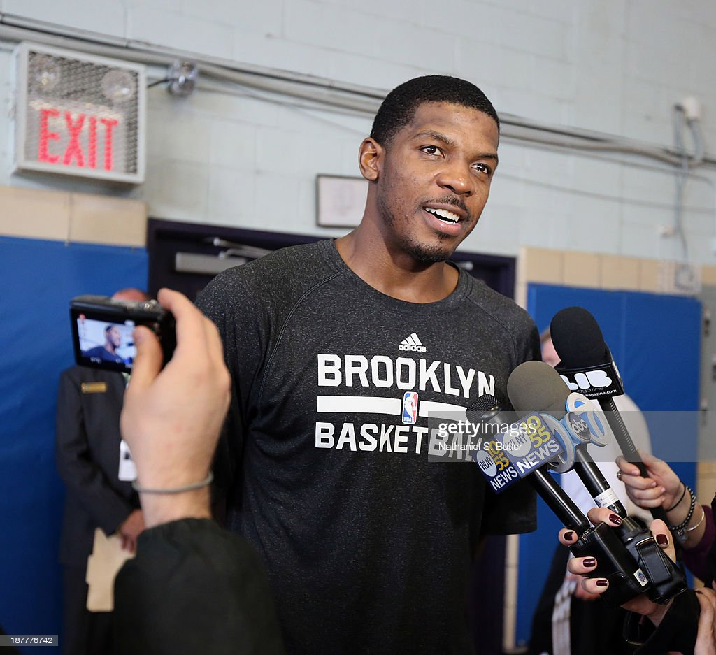 Joe Johnson #7 of the Brooklyn Nets speaks to the media during a team event in celebration of Veterans Day at Ft. Hamilton, Brooklyn on November 11, 2013 in the Brooklyn borough of New York City.