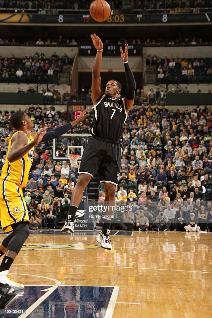 Joe Johnson #7 of the Brooklyn Nets takes a shot against the Indiana Pacers on April 12, 2013 at Bankers Life Fieldhouse in Indianapolis, Indiana.