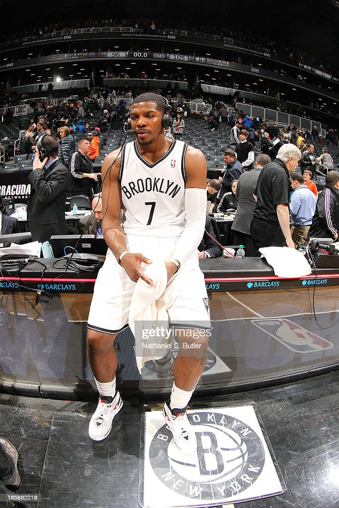 Joe Johnson #7 of the Brooklyn Nets talks to the media after a win against the Charlotte Bobcats on April 6, 2013 at the Barclays Center in the Brooklyn borough of New York City.
