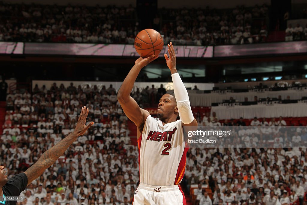 <a gi-track='captionPersonalityLinkClicked' href=/galleries/search?phrase=Joe+Johnson+-+Basketball+Player&family=editorial&specificpeople=201652 ng-click='$event.stopPropagation()'>Joe Johnson</a> #2 of the Miami Heat shoots the ball against the Charlotte Hornets in Game Seven of the Eastern Conference Quarterfinals during the 2016 NBA Playoffs on May 1, 2016 at American Airlines Arena in Miami, Florida.