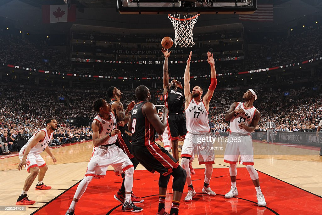 Joe Johnson #2 of the Miami Heat shoots the ball against the Toronto Raptors in Game Two of the Eastern Conference Semifinals on May 5, 2016 at the Air Canada Centre in Toronto, Ontario, Canada.