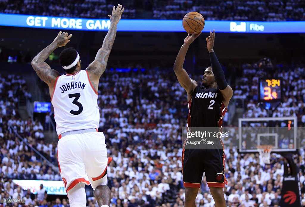 Joe Johnson #2 of the Miami Heat shoots the ball as James Johnson #3 of the Toronto Raptors defends in the second half of Game Two of the Eastern Conference Semifinals during the 2016 NBA Playoffs at the Air Canada Centre on May 5, 2016 in Toronto, Ontario, Canada.