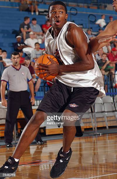 Joe Johnson of the Phoenix Suns drives to the basket against the Chicago Bulls during the Rocky Mountain Revue Summer league at Salt Lake Community...