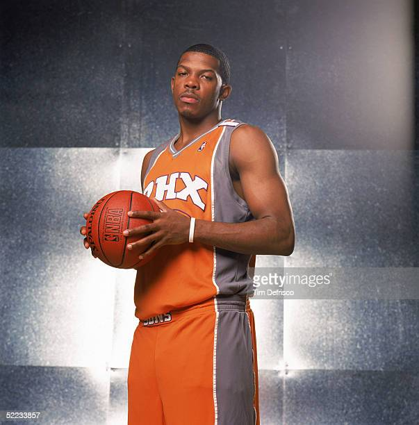 Joe Johnson of the Phoenix Suns poses for a portrait prior to competing in the Footlocker 3Point Shootout during 2005 NBA AllStar Weekend at Pepsi...