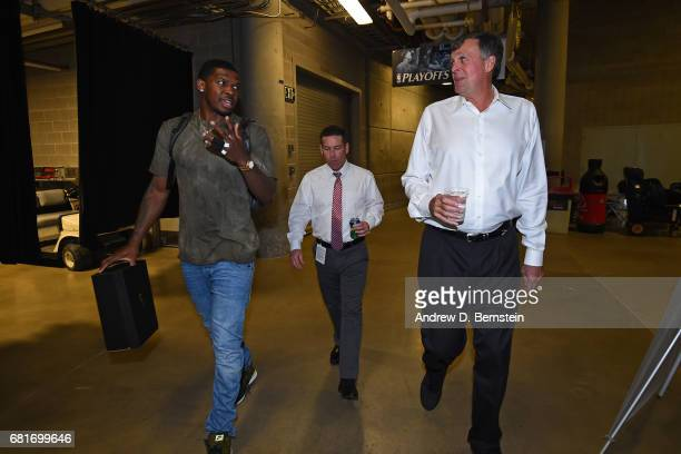 Joe Johnson of the Utah Jazz and NBA Legend Kevin McHale arrive before Game Four of the Western Conference Semifinals of the 2017 NBA Playoffs on May...
