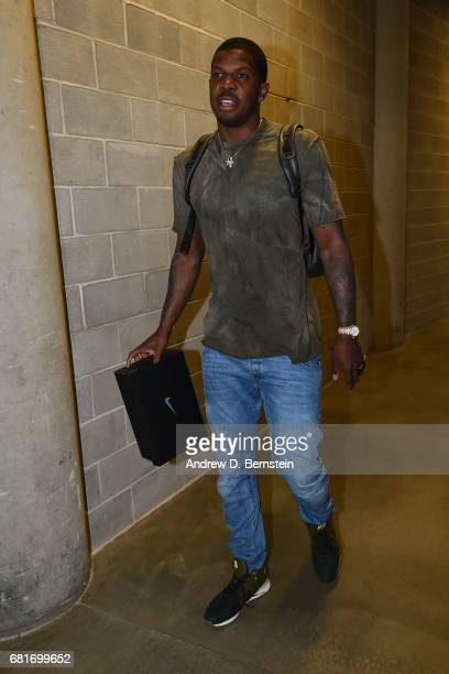 Joe Johnson of the Utah Jazz arrives before Game Four of the Western Conference Semifinals of the 2017 NBA Playoffs on May 8 2017 at vivintSmartHome...
