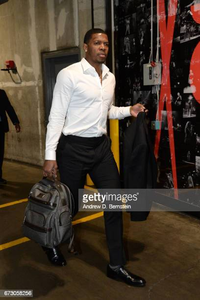 Joe Johnson of the Utah Jazz arrives before the game against the LA Clippers in Game Five of the Western Conference Quarterfinals of the 2017 NBA...