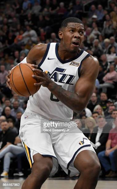 Joe Johnson of the Utah Jazz controls the ball against the Denver Nuggets at Vivint Smart Home Arena on October 18 2017 in Salt Lake City Utah NOTE...