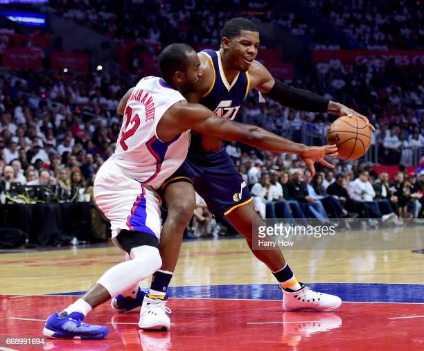 Joe Johnson of the Utah Jazz dribbles in on Luc Mbah a Moute of the LA Clippers during a 9795 Jazz win at Staples Center on April 15 2017 in Los...