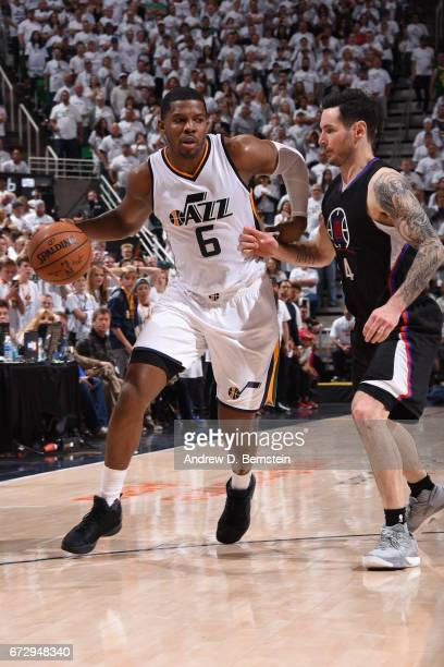 Joe Johnson of the Utah Jazz drives to the basket against the LA Clippers during Game Four of the Western Conference Quarterfinals during the 2017...