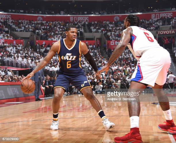 Joe Johnson of the Utah Jazz handles the ball against the LA Clippers during Game Two of the Western Conference Quarterfinals of the 2017 NBA...