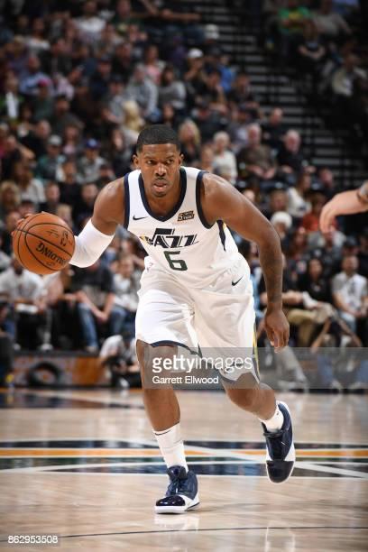 Joe Johnson of the Utah Jazz handles the ball against the Denver Nuggets during the game on October 18 2017 at vivintSmartHome Arena in Salt Lake...
