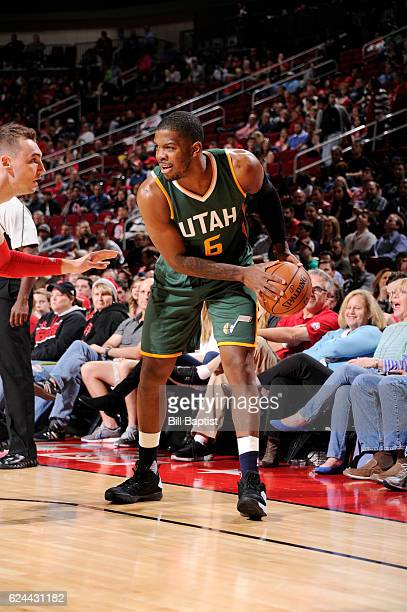 Joe Johnson of the Utah Jazz handles the ball against the Houston Rockets during the game on November 19 2016 at the Toyota Center in Houston Texas...