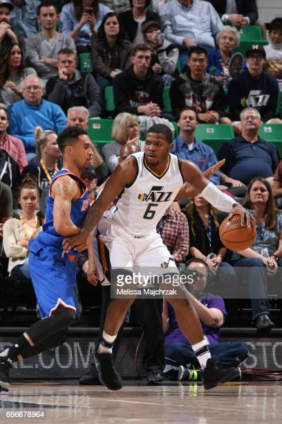 Joe Johnson of the Utah Jazz handles the ball against the New York Knicks on March 22 2017 at vivintSmartHome Arena in Salt Lake City Utah NOTE TO...