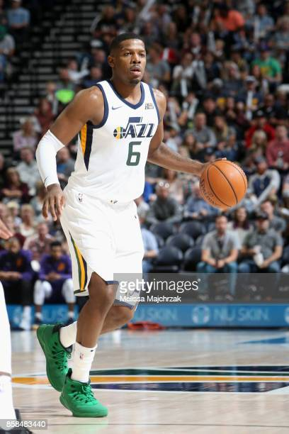 Joe Johnson of the Utah Jazz handles the ball against the Phoenix Suns on October 6 2017 at vivintSmartHome Arena in Salt Lake City Utah NOTE TO USER...