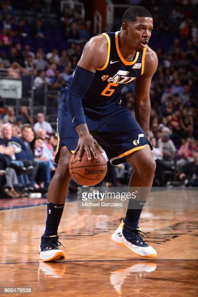 Joe Johnson of the Utah Jazz handles the ball against the Phoenix Suns on October 25 2017 at Talking Stick Resort Arena in Phoenix Arizona NOTE TO...