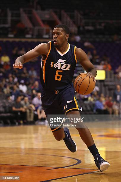 Joe Johnson of the Utah Jazz handles the ball during the preseason NBA game against the Phoenix Suns at Talking Stick Resort Arena on October 5 2016...