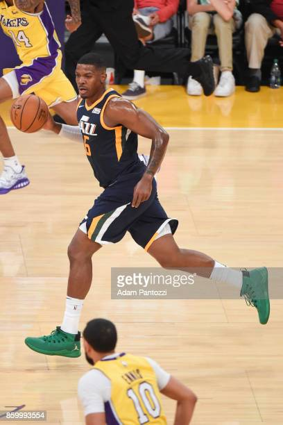 Joe Johnson of the Utah Jazz handles the ball during the preseason game against the Los Angeles Lakers on October 10 2017 at STAPLES Center in Los...
