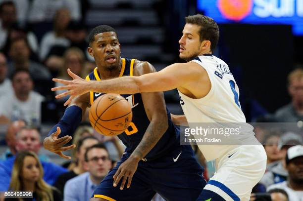 Joe Johnson of the Utah Jazz passes the ball against Nemanja Bjelica of the Minnesota Timberwolves during the game on October 20 2017 at the Target...