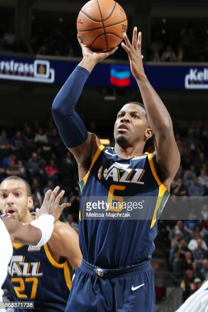 Joe Johnson of the Utah Jazz shoots the ball against the Dallas Mavericks on October 30 2017 at Vivint Smart Home Arena in Salt Lake City Utah NOTE...
