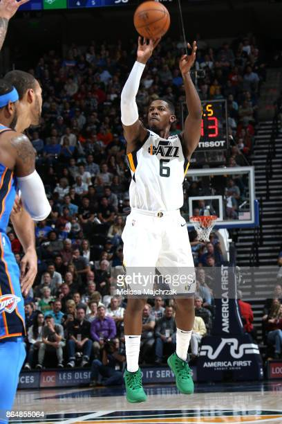 Joe Johnson of the Utah Jazz shoots the ball against the Oklahoma City Thunder during the game on October 21 2017 at vivintSmartHome Arena in Salt...