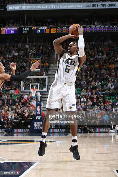 Joe Johnson of the Utah Jazz shoots the ball during a game against the Los Angeles Lakers on January 26 2017 at vivintSmartHome Arena in Salt Lake...