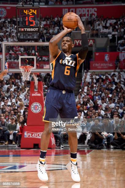 Joe Johnson of the Utah Jazz shoots the ball during the game against the Los Angeles Clippers in Game One of Round One during the 2017 NBA Playoffs...