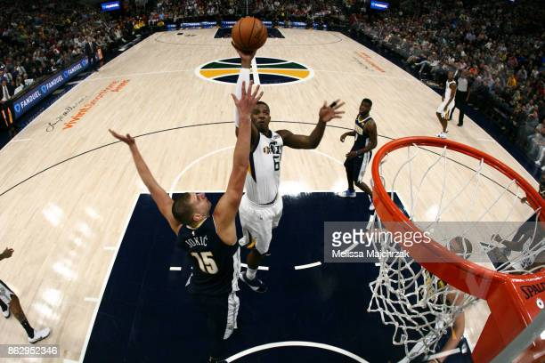 Joe Johnson of the Utah Jazz shoots the ball during the season game against the Denver Nuggets on October 18 2017 at Vivint Smart Home Arena in Salt...
