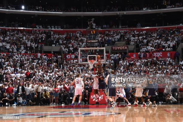 Joe Johnson of the Utah Jazz shoots the ball to win the game against the Los Angeles Clippers in Game One of Round One during the 2017 NBA Playoffs...