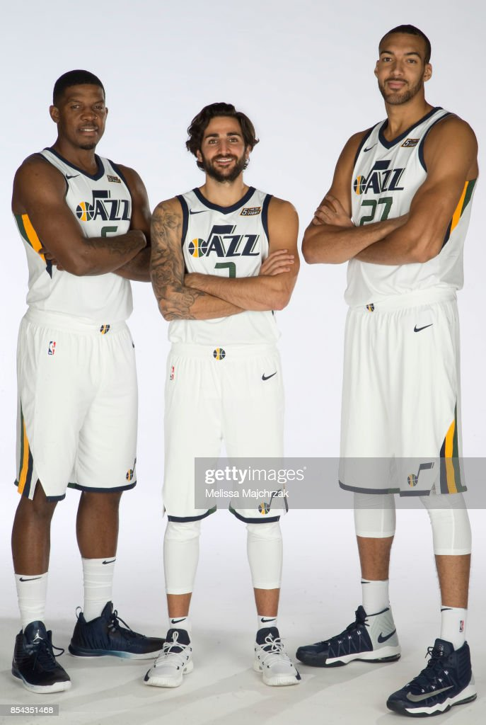 ¿Cuánto mide Ricky Rubio? - Altura - Real height Joe-johnson-ricky-rubio-and-rudy-gobert-of-the-utah-jazz-poses-for-a-picture-id854351468