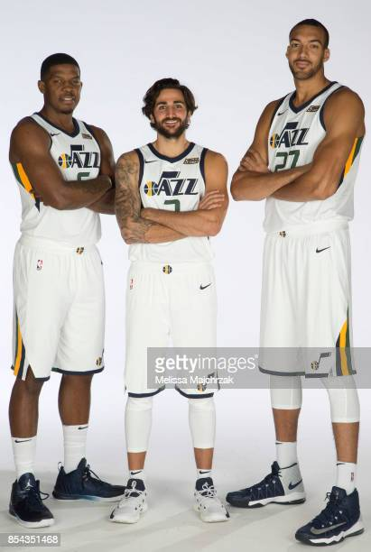 Joe Johnson Ricky Rubio and Rudy Gobert of the Utah Jazz poses for a photo during media day at Zions Bank Basketball Center on September 25 2017 in...