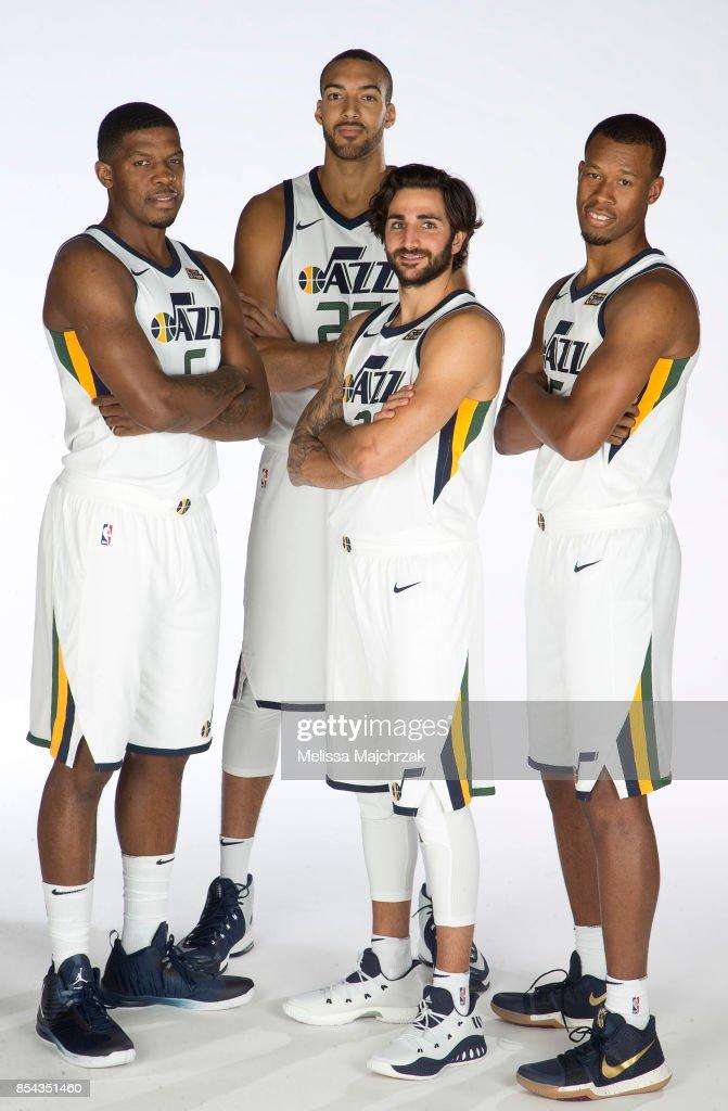 ¿Cuánto mide Ricky Rubio? - Altura - Real height Joe-johnson-rudy-gobert-ricky-rubio-and-rodney-hood-of-the-utah-jazz-picture-id854351460