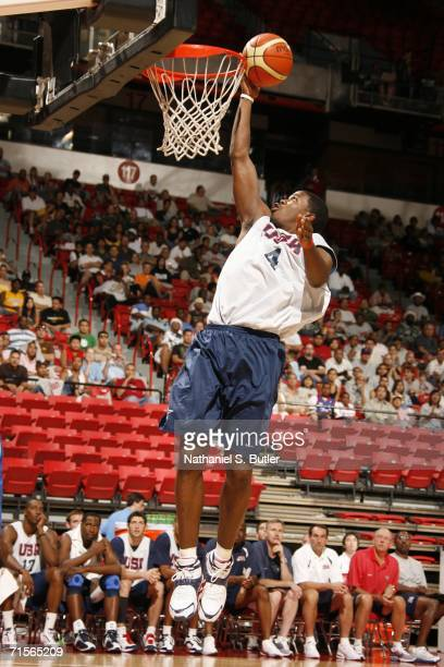 Joe Johnson shoots during a scrimmage between the USA Senior Men's National Team and the Puerto Rico Senior National Team on August 1 2006 at the...