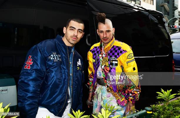 Joe Jonas and Cole Whittle of DNCE are sighting in Harajuku street on March 25 2017 in Tokyo Japan