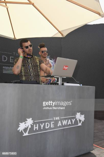 Joe Jonas and Cole Whittle of DNCE perform during The Hyde Away hosted by Republic Records SBE presented by Hudson and bareMinerals during Coachella...