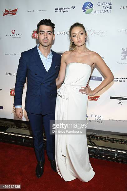 Joe Jonas and Gigi Hadid attend the Global Lyme Alliance 'Uniting for a LymeFree World' Inaugural Gala at Cipriani 42nd Street on October 8 2015 in...