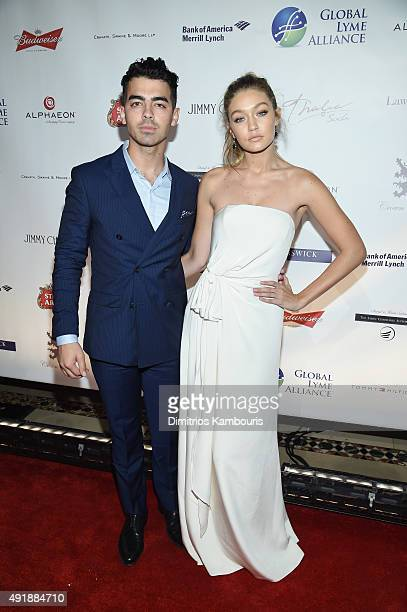Joe Jonas and Gigi Hadid attends the Global Lyme Alliance 'Uniting for a LymeFree World' Inaugural Gala at Cipriani 42nd Street on October 8 2015 in...