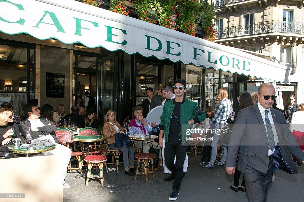 Joe Jonas and Gigi Hadid leave the 'Cafe de Flore' restaurant on October 2 2015 in Paris France