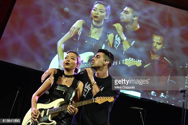 Joe Jonas and JinJoo Lee of the band DNCE perform at TJ Martell Foundation's 41st Annual Honors Gala at Gustavino's on October 18 2016 in New York...