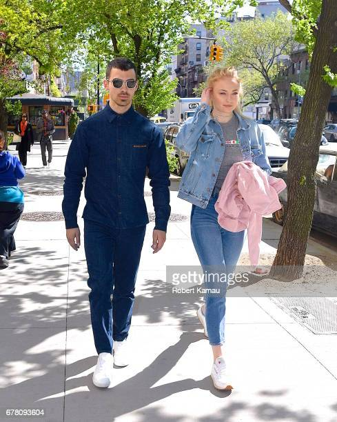 Joe Jonas and Sophie Turner seen out for a walk in Manhattan on May 3 2017 in New York City