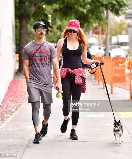 Joe Jonas and Sophie Turner walk their dog on September 7 2017 in New York City