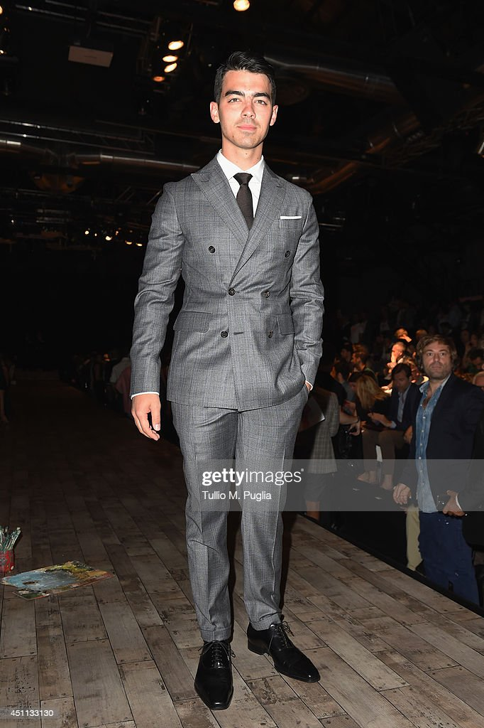 Joe Jonas attends DSquared2 show during Milan Menswear Fashion Week Spring Summer 2015 on June 24, 2014 in Milan, Italy.